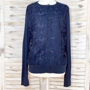 Ann Taylor LOFT | Floral Lace Button Up Cardigan